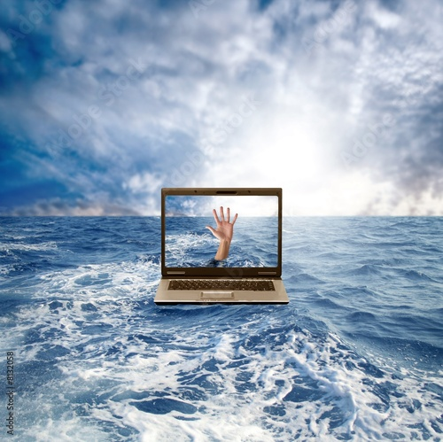 laptop on the water Canvas Print