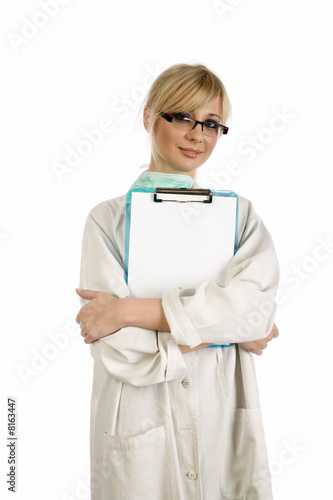 Photographie  Blonde nurse with blue notepad
