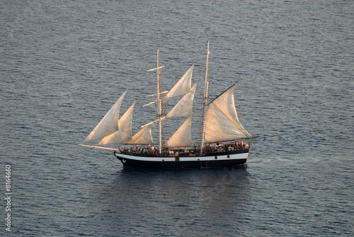 Sailing ship in the Aegean Sea near Santorini, Greece © philipus