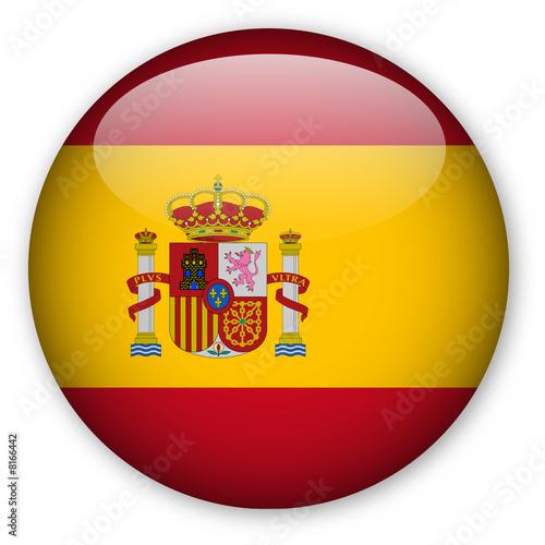 Fototapeta premium Przycisk flagi Hiszpanii