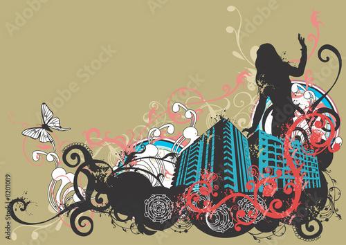 Poster Bloemen vrouw Urban woman