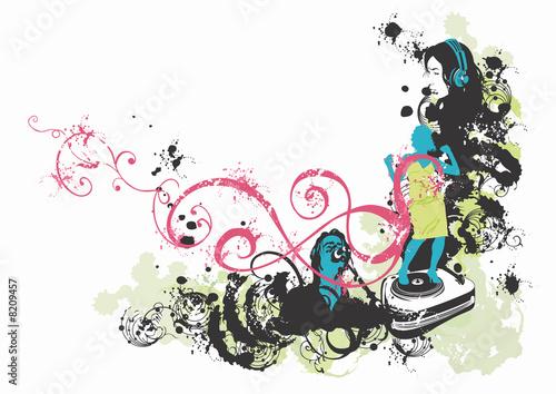 Poster Bloemen vrouw Music