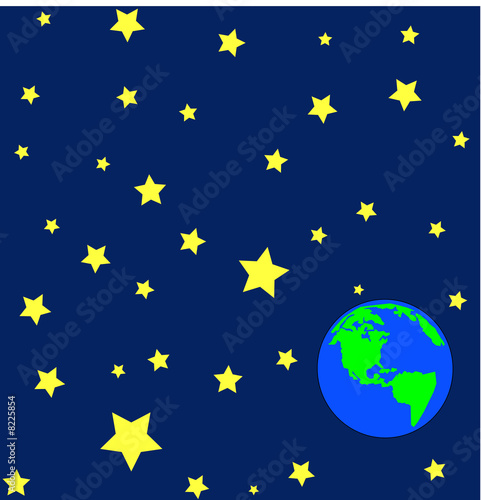 Foto-Plissee - cartoon of earth in outerspace or orbit with stars  (von Willee Cole)