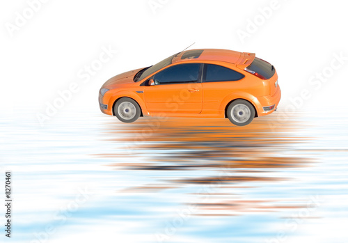 Poster Voitures rapides orange car isolated