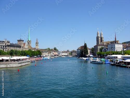 Photo sur Toile Europe Centrale Zürich im Sommer