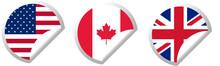 USA, UK, Canada Flag Stickers