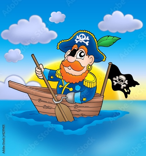 Poster de jardin Pirates Pirate on boat with sunset