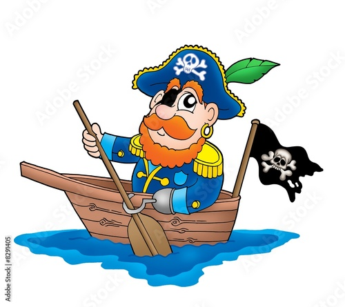 Deurstickers Piraten Pirate in the boat