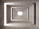 Fototapeta Perspektywa 3d -  concrete tunnel and lateral lights