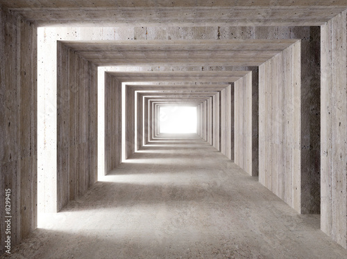 concrete tunnel and lateral lights Canvas