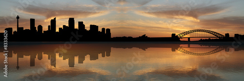 Photo  Sydney skyline at sunset illustration