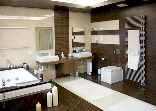 Valokuva  luxurious modern white bathroom with dark wood floors
