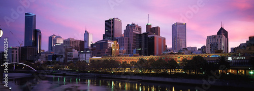 Foto op Aluminium Purper panorama of melbourne city