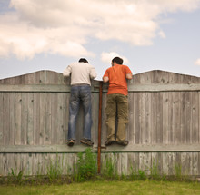 Two Boys On The Fence Looking ...