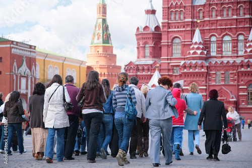 Photo  tourists on red square