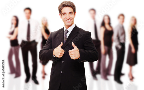 Fototapety, obrazy: Successful businessman with his team
