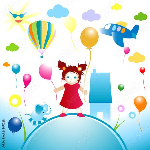Papiers peints Avion, ballon happy world