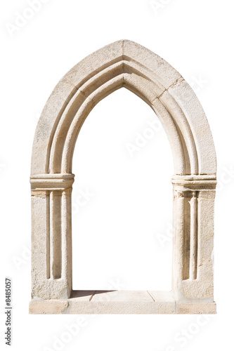 Photo Original gothic door isolated on white background