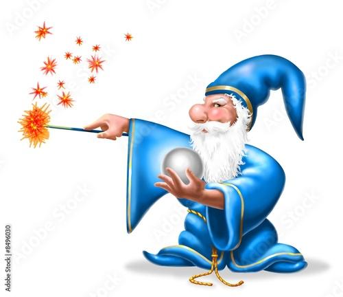 Spoed Fotobehang Feeën en elfen wizard su bianco