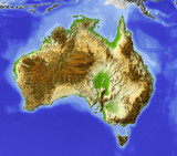 Australia, relief map, colored according to elevation