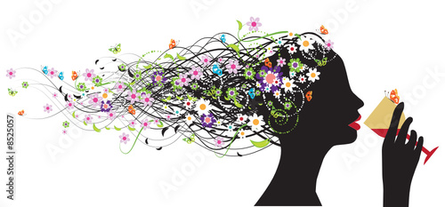 Floral femme Floral head silhouette, wine
