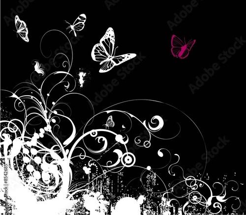 Montage in der Fensternische Schmetterlinge im Grunge grunge emo foliage