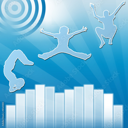 statistiques saut de joie bleu Wall mural