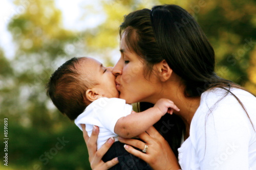 Fotografie, Obraz  Mother & Infant Baby in the Park