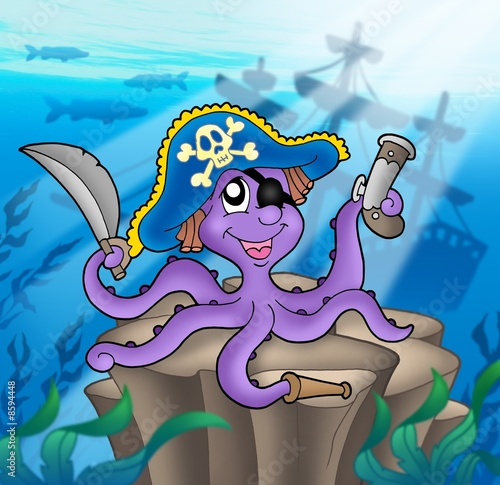 Poster de jardin Pirates Pirate octopus with shipwreck