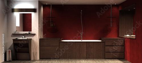 salle de bain rouge Fotobehang