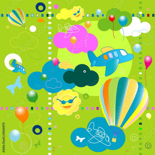 Papiers peints Avion, ballon toys pattern