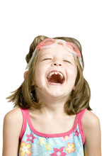 Little Girl With Goggles Laugh...