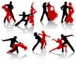 Silhouettes of the pairs dancing ballroom dances