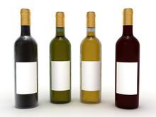 Wine Bottles Isolated On White...