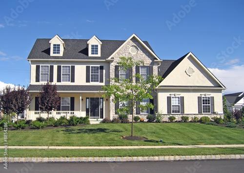 Fotografie, Obraz  Front of a spacious, upscale suburban home.