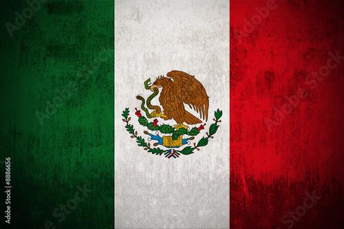 Stickers pour porte Amérique du Sud Weathered Flag Of Mexico, fabric textured