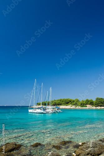 Cadres-photo bureau Voile Sail boats docked in beautiful bay, Adriatic sea, Croatia