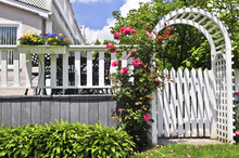 White Arbor With Red Blooming Roses In A Garden