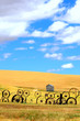 canvas print picture - Wheat Fields and Old Wagon Wheel fence