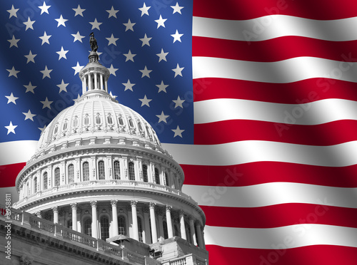 Fotografía  US Capitol building Washington DC with rippled flag