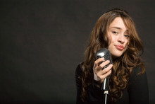 Beautiful Sexy Young Woman Singing