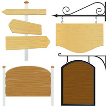 Set Of Wooden Sign Vector 2