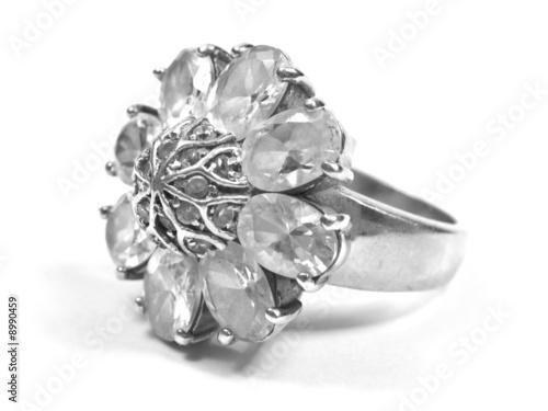 zirconium ring profile big ring on white isolated background Fototapet