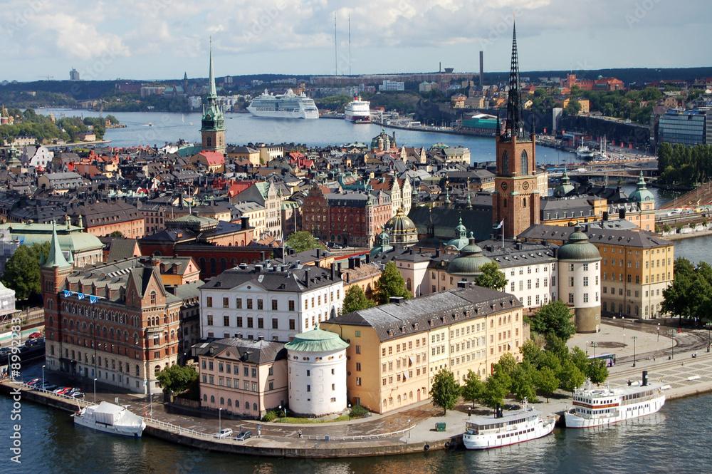 Foto  Riddarholmen island at Stockholm, Sweden