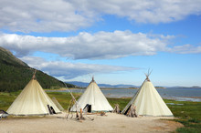 Canvas Teepee (wigwams) In Landscape