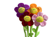 Smiling Flower Toy On White Backgroung