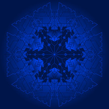 Blue Kaleidoscope Snowflake