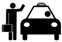 Man With Luggage Hailing A Tax...