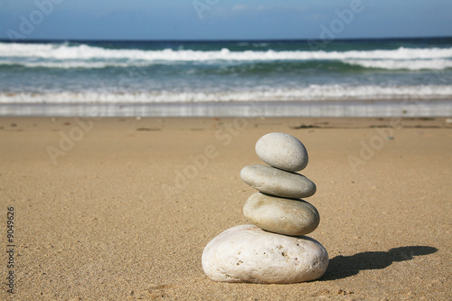 Poster Zen pierres a sable pietre in equilibrio