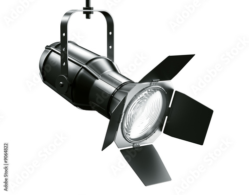Fotobehang Licht, schaduw 3d rendering of a spotlght on a white background